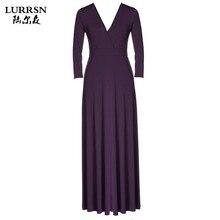 LURRSN HEIßER VERKAUF Großen Größe 3XL Sexy Long Sleeve V-ausschnitt Party volle Kleider Stilvolle Dame Frauen Formale Abschlussball-ball-abend-kleid Langes Kleid