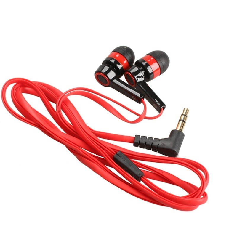 Red Flat 3.5mm Aux Wired Earphone Earpiece In Ear Earbuds Universal Headset for Mobile Phones Computers MP3 MP4 CD player cheaper in ear headset earphone for mp3 player computer mobile telephone wired earphone wholesale