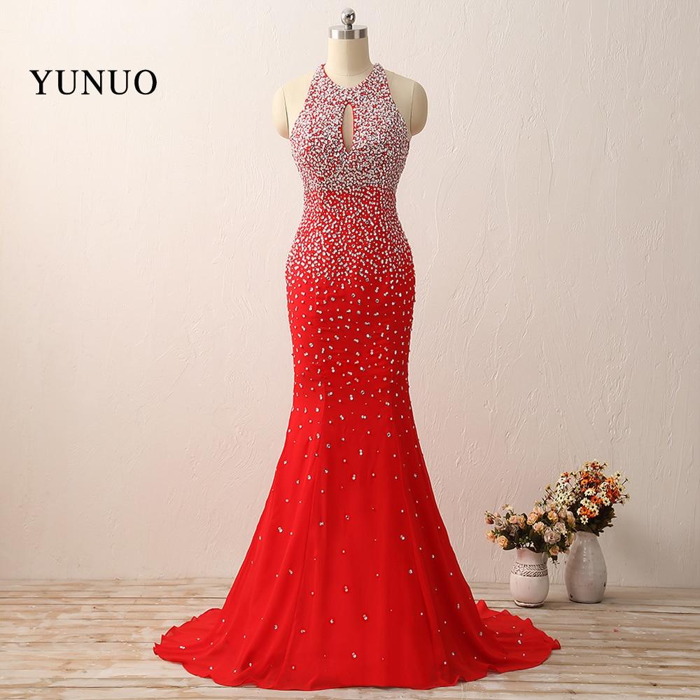 Red Prom Dresses Sexy Beaded Halter Sleeveless Open Back Mermaid Long Train Evening Party Dress 2018 Real Photo Vestido De Festa ...