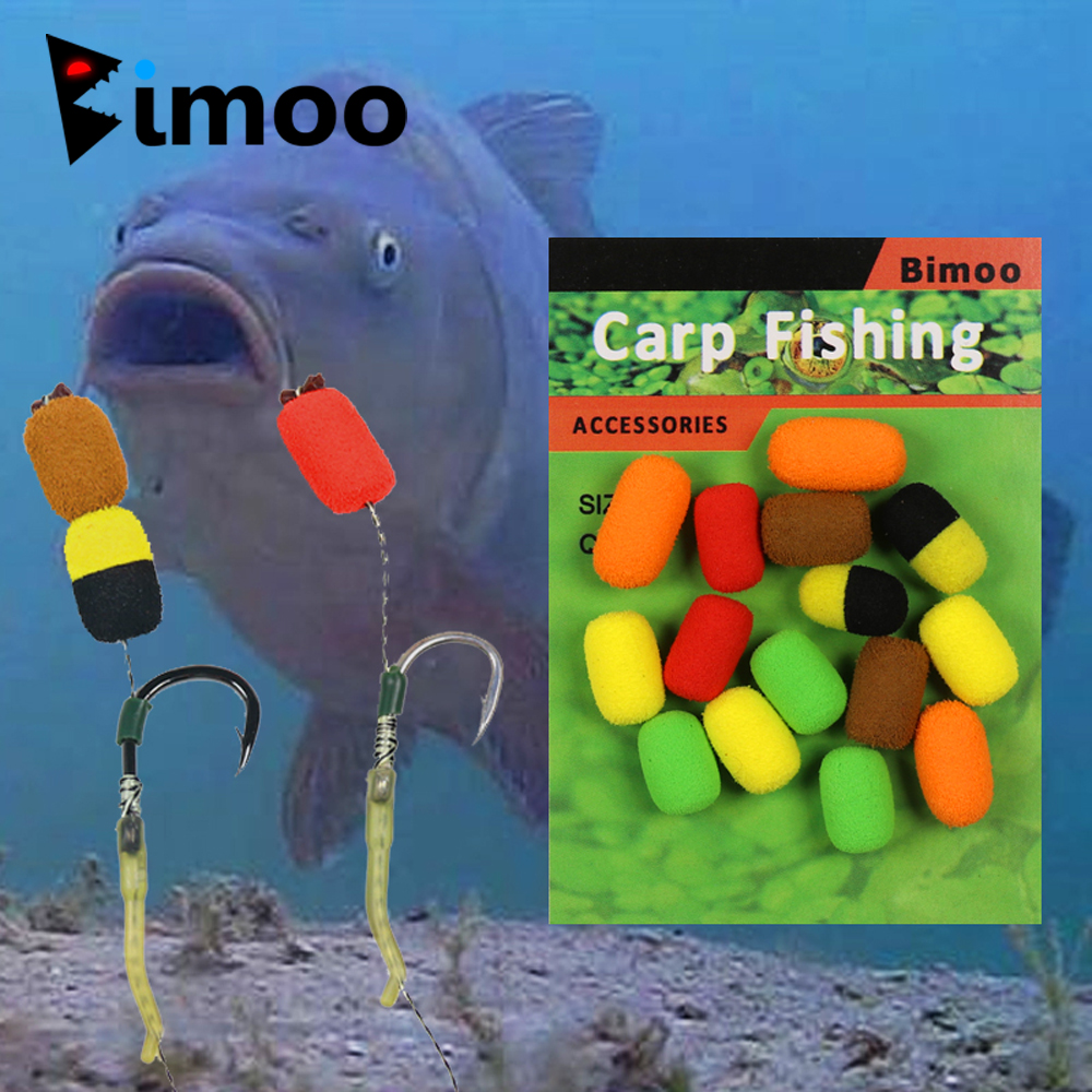 Bimoo 15pcs/pack Carp Fishing Bait Boilie Pop Ups Hook Fish Baits Lure 8mm Hair Rig Foam Coarse Fishing Terminal Tackle wifreo 30pcs bag soft fake floating tiger nut bait pop ups scorpion carp rig pop up rig big carp fishing tackle s m