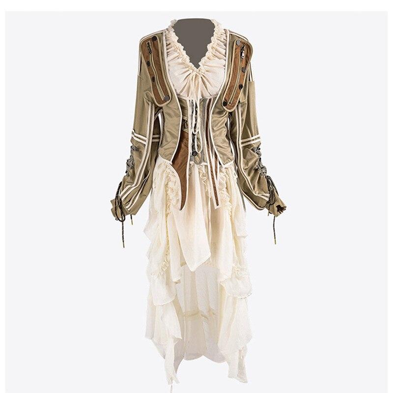 Luxus Designer Marke frauen Sets V Neck Rüschen Unregelmäßigen Lange Kleid und Spleißen Kontrast Jacke 2 stücke Set-in Damen-Sets aus Damenbekleidung bei  Gruppe 1