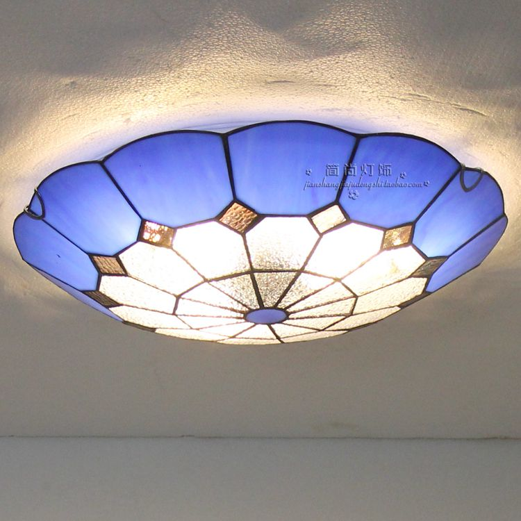 Mediterranean creative Tiffany ceiling lamp entrance hall light balcony stair lamp kitchen lights Mediterranean lamp tiffany mediterranean style peacock natural shell ceiling lights lustres night light led lamp floor bar home lighting