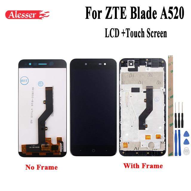 Alesser ل ZTE بليد A520 شاشة الكريستال السائل و شاشة تعمل باللمس مع الإطار الجمعية إصلاح أجزاء 5 بوصة اكسسوارات أدوات لاصق