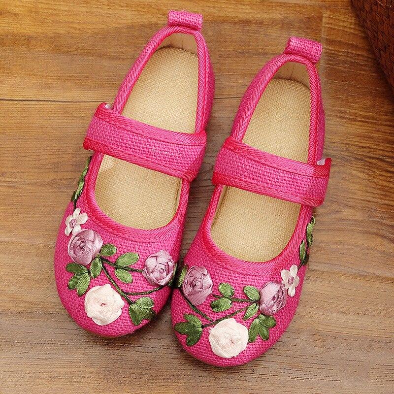 Filles chaussures fleur broderie enfants chaussures chinois tissu traditionnel enfants chaussures princesse chaussures de danse 100459 - 5