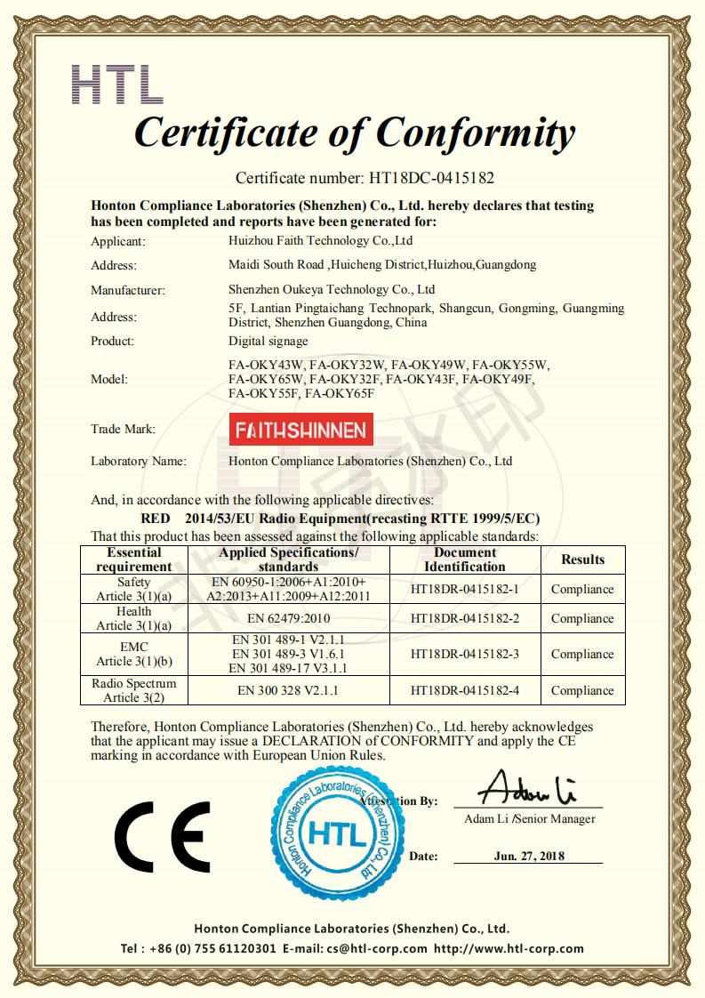HT18DC-0415182 CE RED Certificate Huizhou Faith Technology Co.,Ltd Digital signage_00