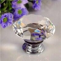 30mm Diamond Shape Crystal Acrylic Glass Door Drawer Cabinet Wardrobe Pull Handle Knob Kitchen Decor Door