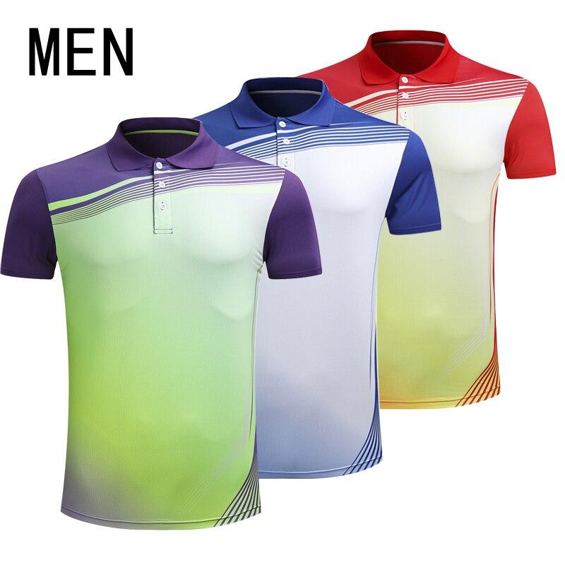 Бадминтон рубашка новый короткий рукав Для мужчин Настольный теннис Костюмы быстросохнущая Tenis masculino плюс Размеры Настольный теннис Джерси