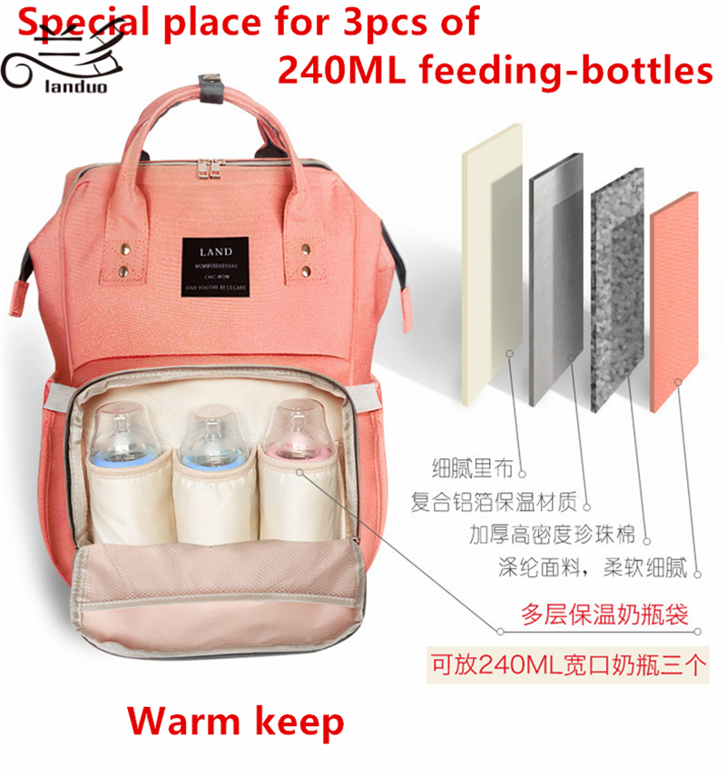 Authentic LAND Mommy Diaper Bags Mother Large Capacity Travel Nappy Backpacks anti-loss zipper Nursing Bags for baby  MPB01
