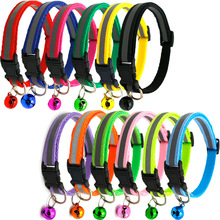 hot sale  Cute Dog Collar Buckle Bell Strap Adjustable strap Night Glossy Reflective Safety Pet