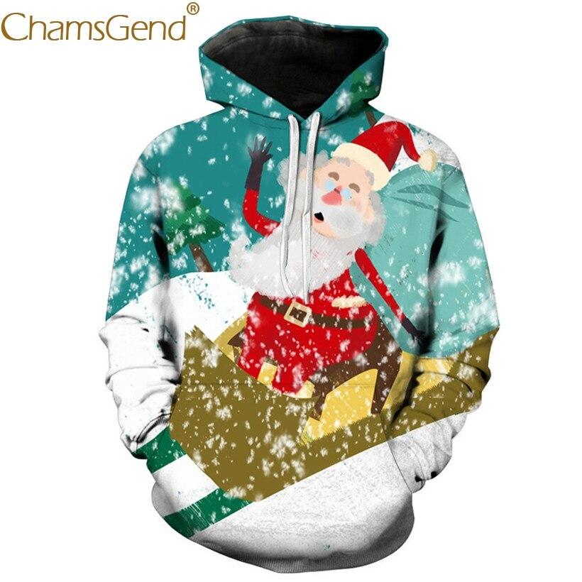 Sweatshirts Happy Santa Claus Cartoon Printing Hoodies Sweatshirts For Men Pullover Coat 80912