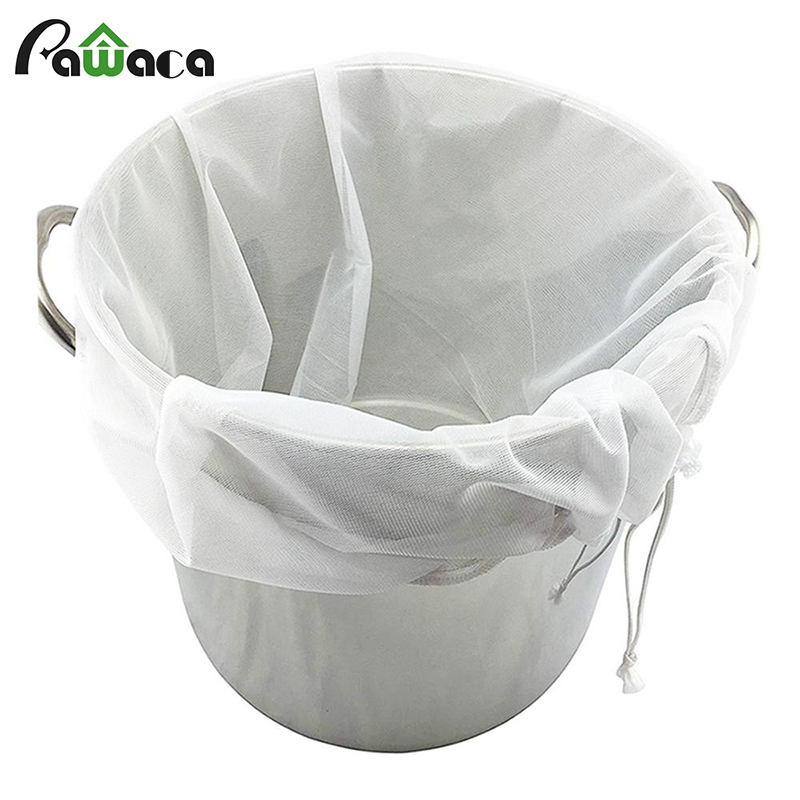 Reusable Drawstring Strainer Mesh Home Beer Brewing Wine Filter Bag Tea Nut Fruit Juice Milk Mesh Filter Bag Net