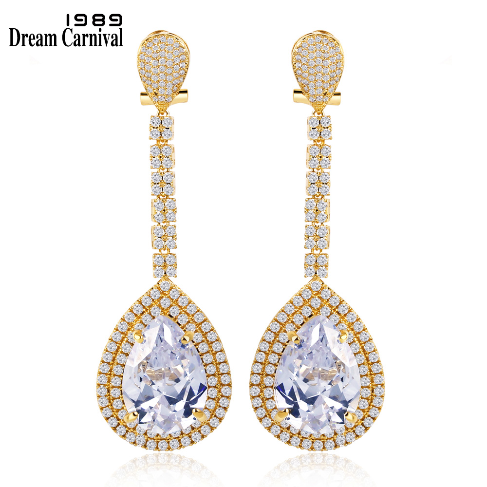 DreamCarnival 1989 Elegant design earrings Gold-color Top Bright Evening Holiday Luxury Bridal boucles d'oreilles D527SE06712G