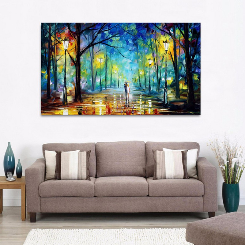 Handpainted Lover Rain Street Tree Landscape Oil Painting On Canvas artwork Wall Art painting For Living Room bedroom Home Decor in Painting Calligraphy from Home Garden