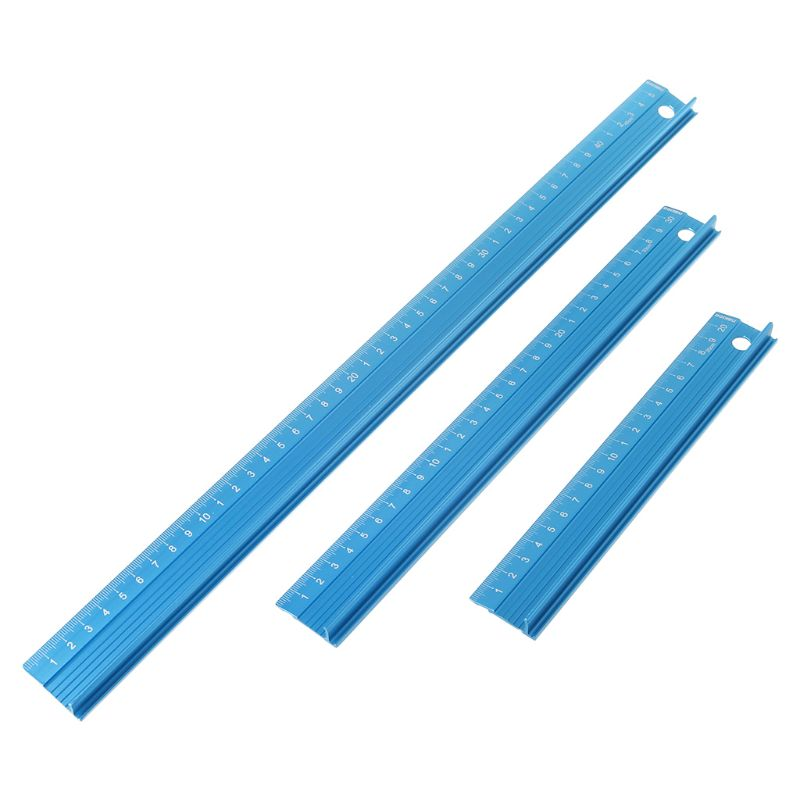 20/30/45cm Blue Professional Aluminum Alloy Straight Ruler Protective Scale Measuring Engineers Drawing Tool Rulers 3 Sizes
