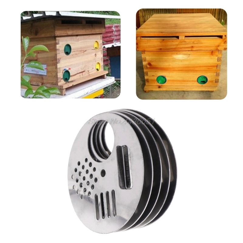High Quality 5Pcs Bee Box Door Cage Stainless Steel Round Hive Hole Beekeeping Nest Equipment