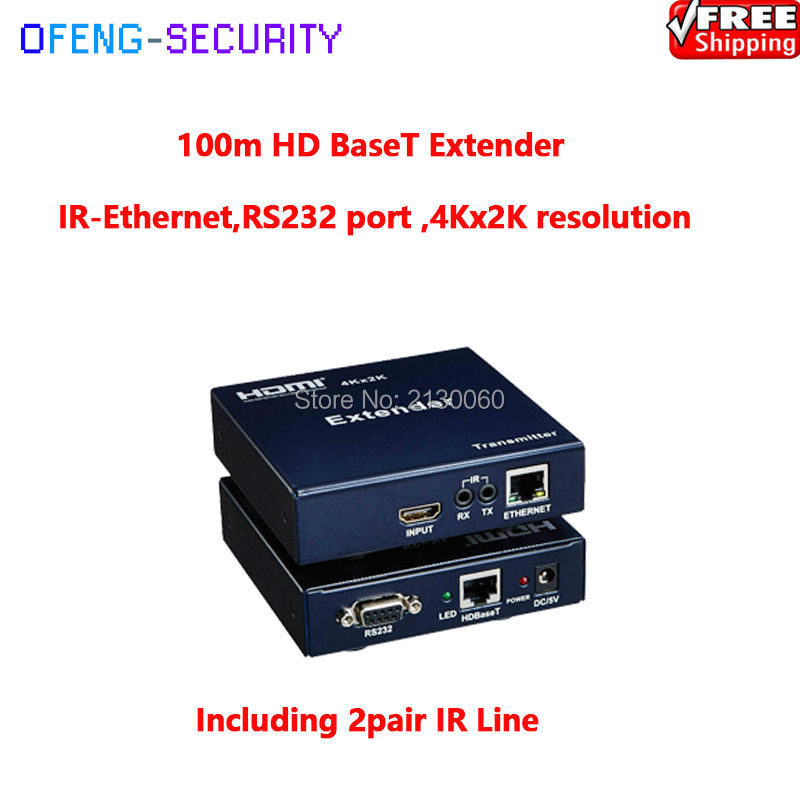 HDMI Extender 100m HDBaseT By Cat5E/cat6, Support HD BaseT, RS232 And Lan Transmitting, RS232 Port ,4Kx2K Resolution