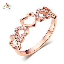 Peacock Star 14K Rose Gold Heart Wedding Band Ring 0.12 Ct Natural Diamonds