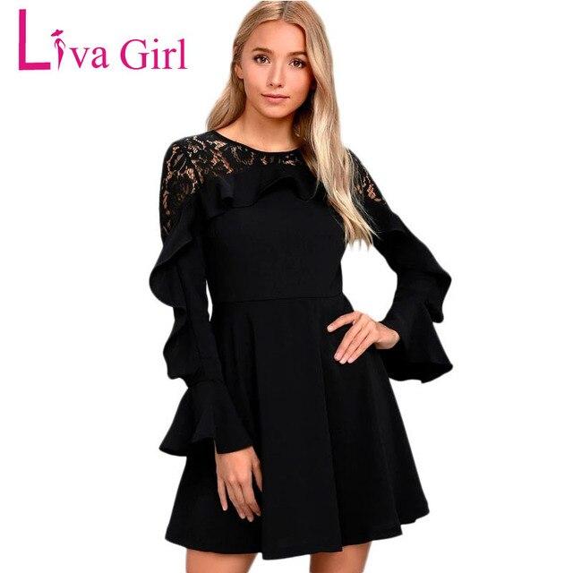 59071c6d2b126 Liva Girl Black Bell Long Sleeve Skater Back Lace Dress Pretty Famale  Elegant Pleated Sexy Ruffle Autumn Winter Bodycon Dress
