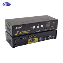 CKL-21S High-end Auto VGA Audio Switch Box 2 in 1 out Switcher 2048*1536 450MHz for PC Monitor wih IR Remote RS232 Control