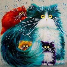 colorful cat diamond painting cross stitch full  embroidery europe home decoration square drill animal series zx