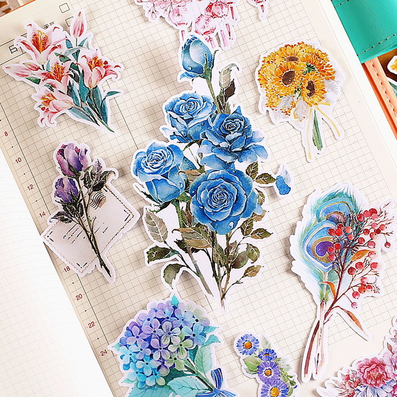 20 pcs/lot Colorful flowers wreath paper sticker package DIY diary decoration sticker album scrapbooking kawaii stationery