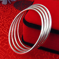 100 Genuine Real Pure Solid 925 Sterling Silver Bangles For Women Jewelry Female Bangle Bracelet Hand
