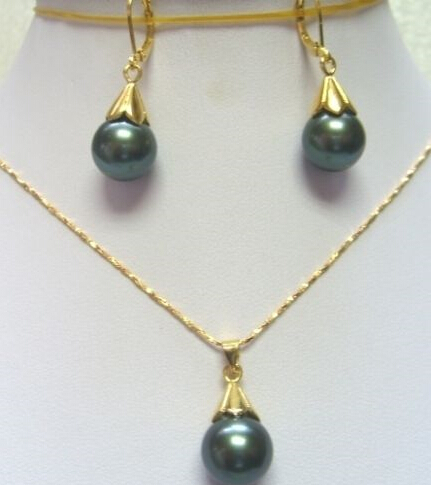 Fashion Set Green Black Shell Pearl Earring Pendant Necklace