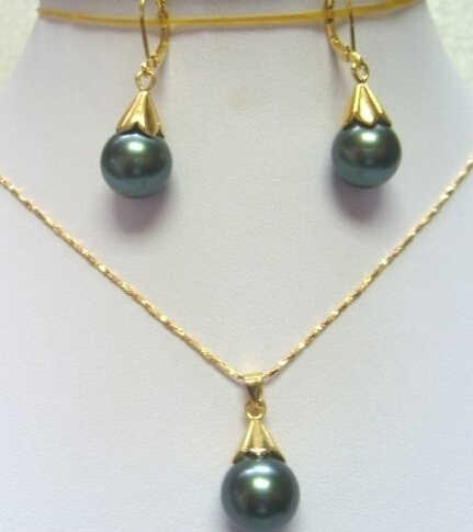 Fashion Set Green black shell pearl Earring Pendant Necklace