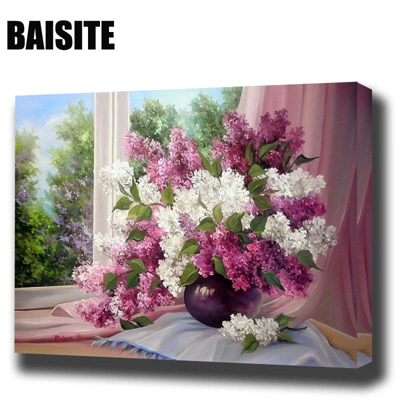 Baisite framed morden flower diy oil painting by numbers painting calligraphy decor wall art for Immagini quadri fiori