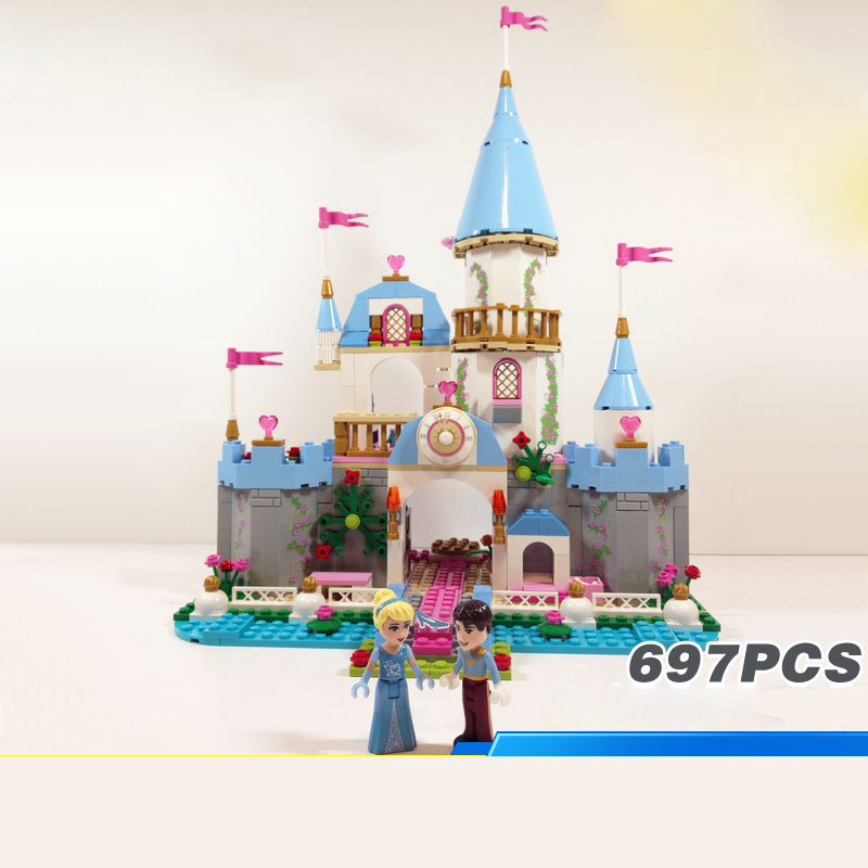 Hot Fairy tale princess Cinderellas romantic Castle building block prince figures bricks 41055 toys for girls gifts