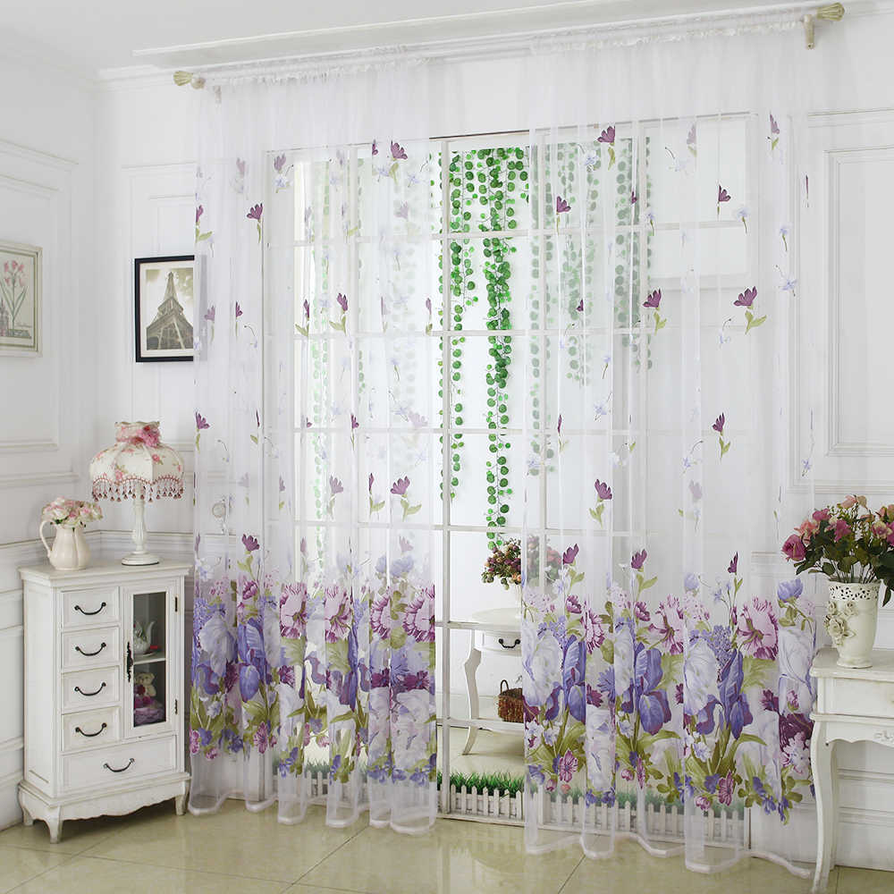 1pc Peony Flower Tulle Curtains Modern Curtains For Living Room Transparent Tulle Curtains Window Drapes Sheer For The Bedroom