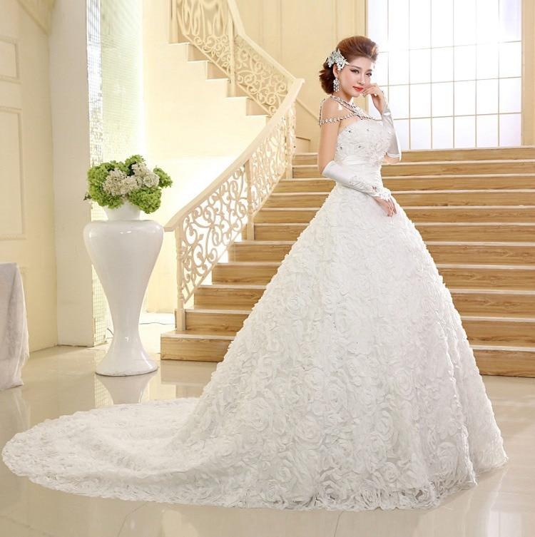 alta calidad vestido de boda de corea de cola larga de encaje sin