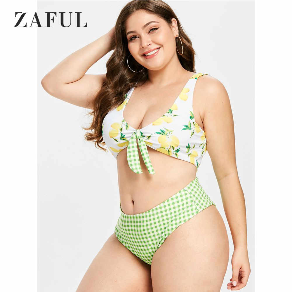 590e393993 ZAFUL Plus Size Knotted Lemon Plaid Bikini Set Plus Size Swimwear Women  Swimsuit Tie Knot Padded