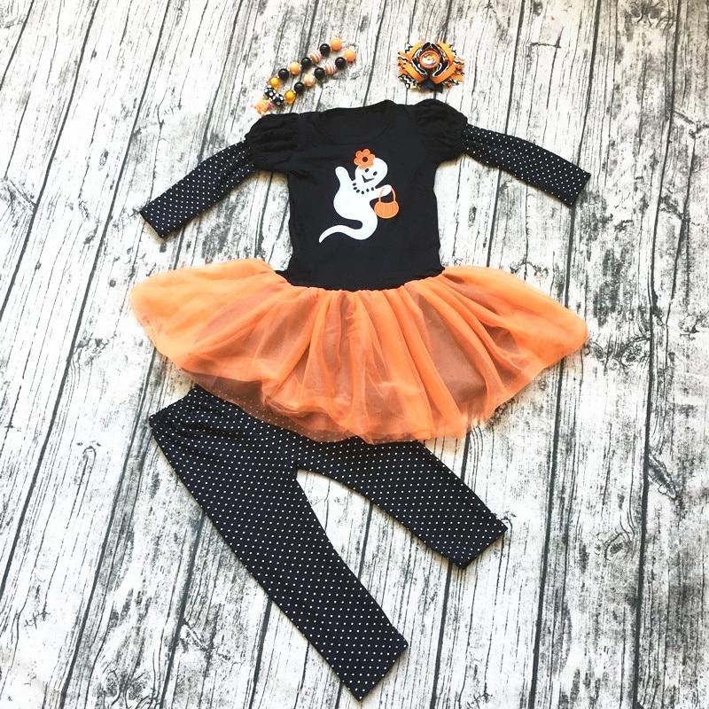 2018 new girl orange cotton pumpkin haloween dress long sleeve children kids halloween outfits beautiful children top wholesale plus size halloween pumpkin long sleeve tee dress