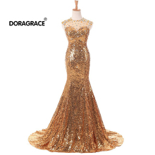 Doragrace robe de soiree Gold Sequins Formal Evening Dress Long Crystal Mermaid Gowns