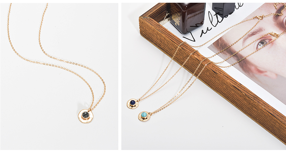 Wild&Free Multi Colors Stone Pendant Necklace For Women Girls Boho Round Charming Necklaces Jewelry Best Friend Gifts 10