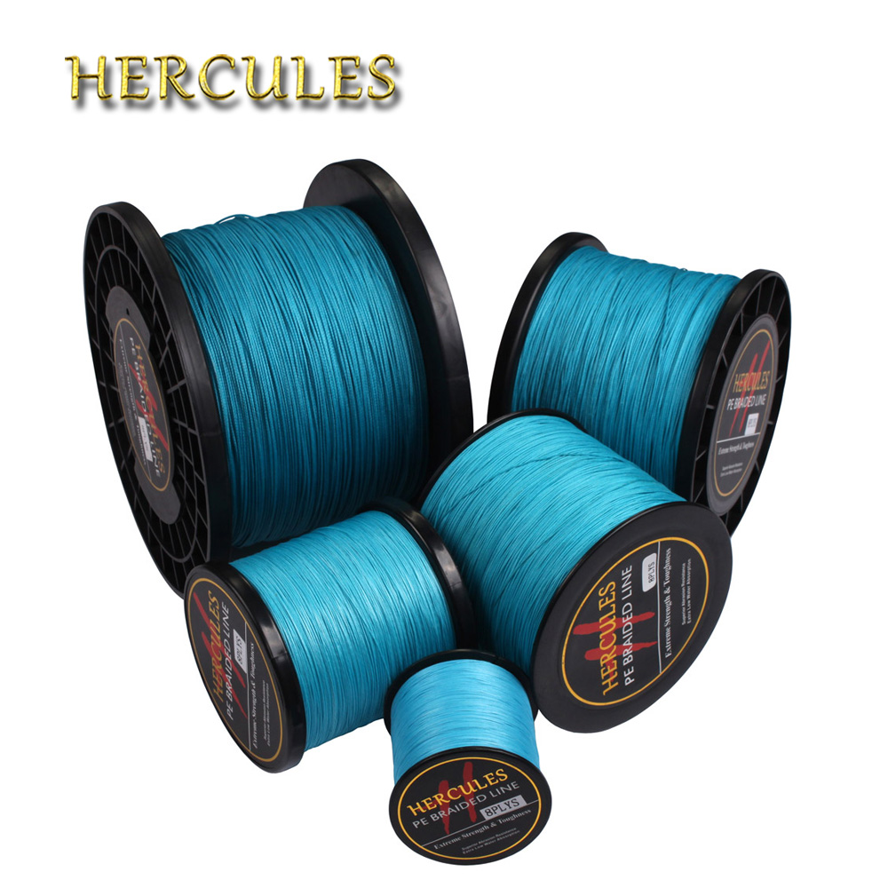 Hercules Braided Fishing Line Big Game 2000M 10LB-200LB Peche Blue Super Strong Saltwater Carp Fishing 8 Strands 2187 Yards Cord