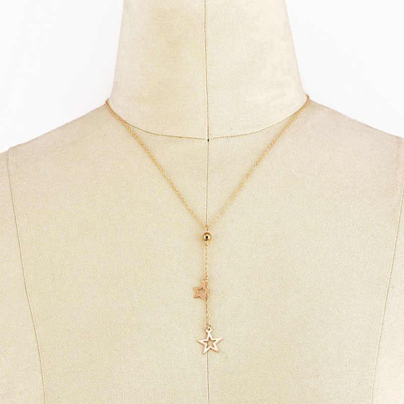 Oro Catena Della Collana Del Choker Semplice Pentagramma star Pendente Della Collana Coreano Gioielli Collares Colar Regali Del Partito Dei Monili di Cerimonia Nuziale