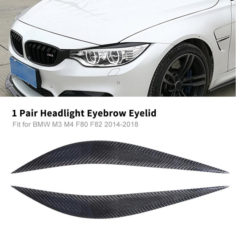 1 Pair Car Real Carbon Fiber Headlight Eyebrow Eyelid Trim