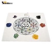 Sunligoo Newest Chakra Crystal Healing Grids Kit Grids Altar Cloth 7 Chakra Gemstone Beads Assorted Chip Gemstones Clear Quart