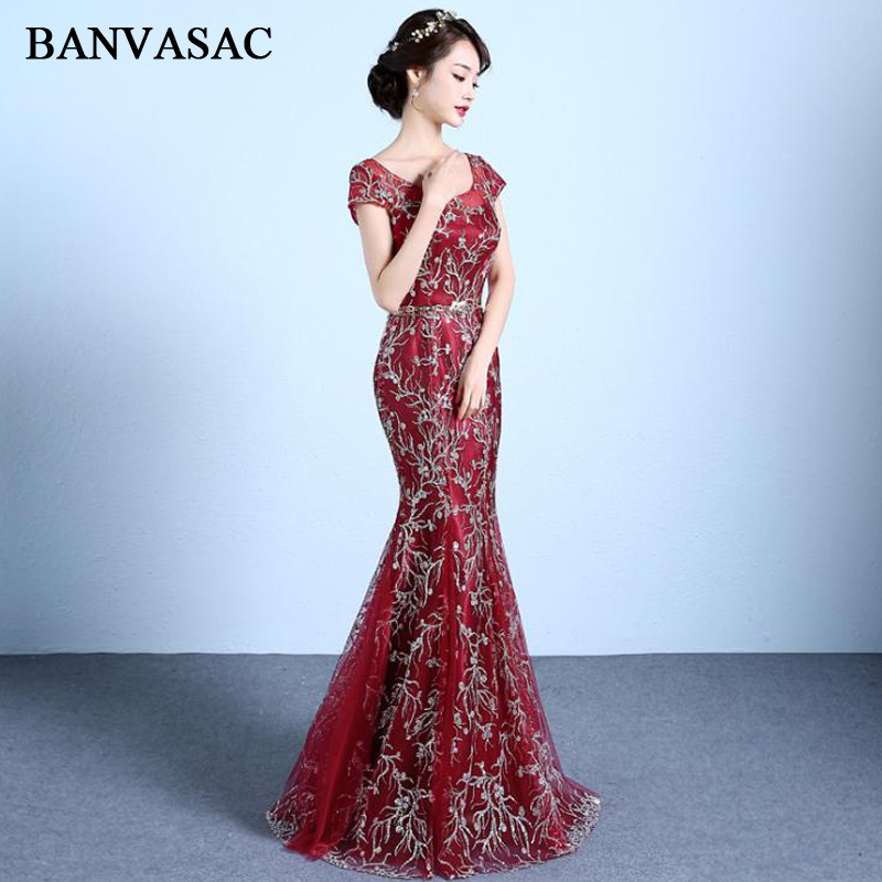 BANVASAC 2018 O Neck Lace Embroidery Mermaid Long   Evening     Dresses   Vintage Short Sleeve Sequined Sash Party Prom Gowns