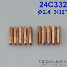 "CHNsalescom 10 шт. 24C332 короткие цанги для Tig сварки факел WP-24 WP-24W 2,4 мм 3/32"""