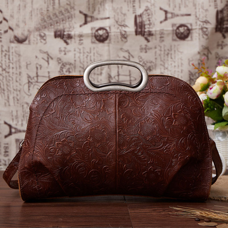 New 100% Genuine Leather Brands Women Shoulder Messenger Tote Handle Bag Natural Skin Retro Luxury Female Cross Body Handbags qiaobao 2018 new korean version of the first layer of women s leather packet messenger bag female shoulder diagonal cross bag