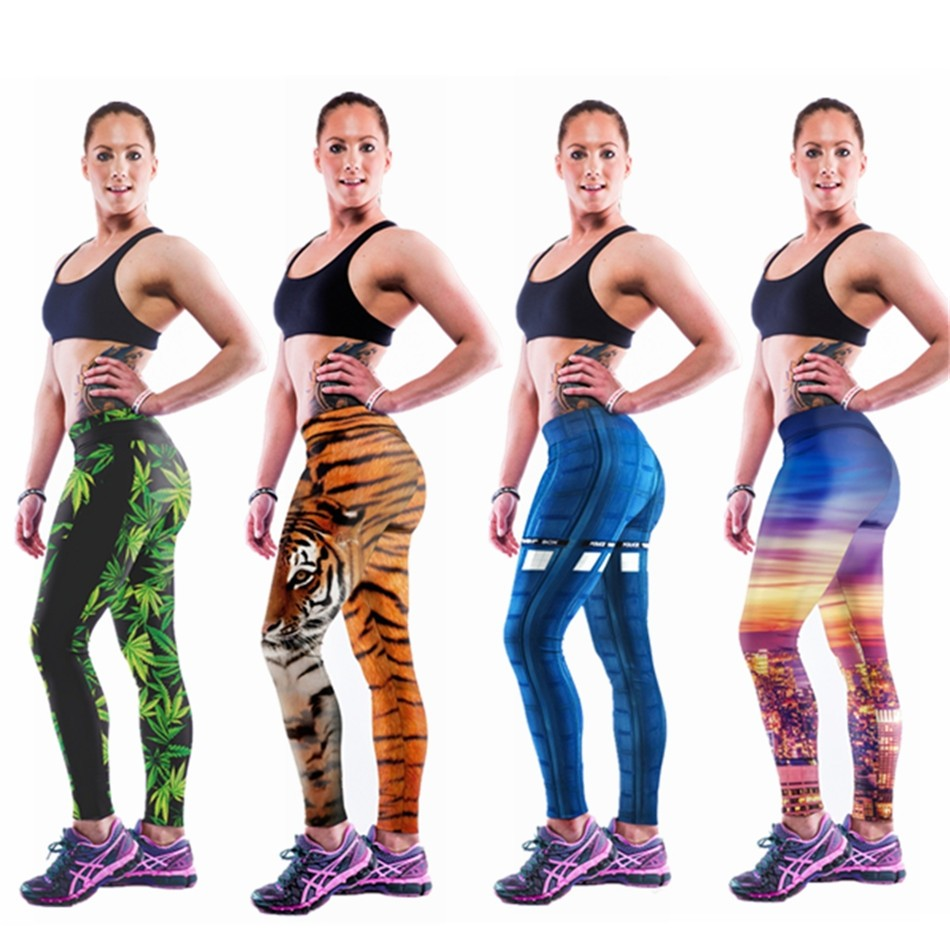 Elastic-Adventure-Time-Fitness-Women-Sports-Leggings-Punk-Rock-Gym-Pants-Capris-Digital-Printing-Workout-Legging