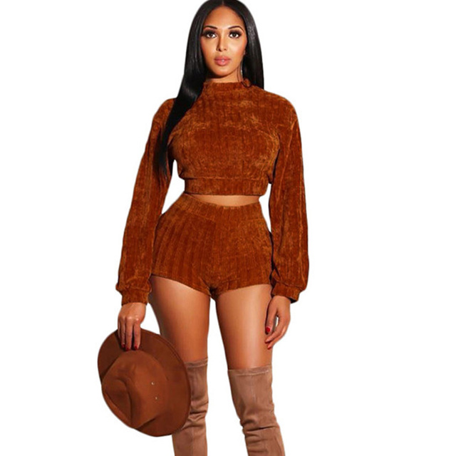 7d8c2720b102 Women Knitted Sweaters Two Piece Sets Autumn Winter Long Sleeve Crop Top  and High Waist Shorts Casual Matching Set Drop Shipping