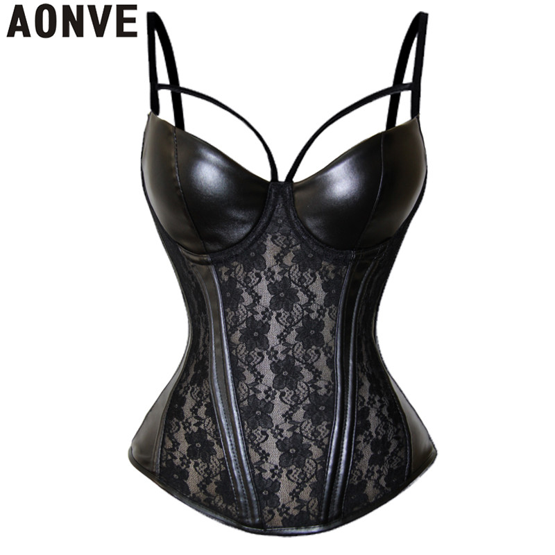 b32e08d06cd Corset Sexy Steampunk Bustier Gothic Leather Black Lace Lingerie Floral  Waist Cincher Steel Boned Body Shaper Corsete Overbust