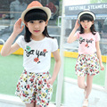 Hot selling!2016 New Summer Set Children Two Piece Suit Girl's Short-sleeved T-shirt+Shorts Suit Big Child Floral Set Wholesale