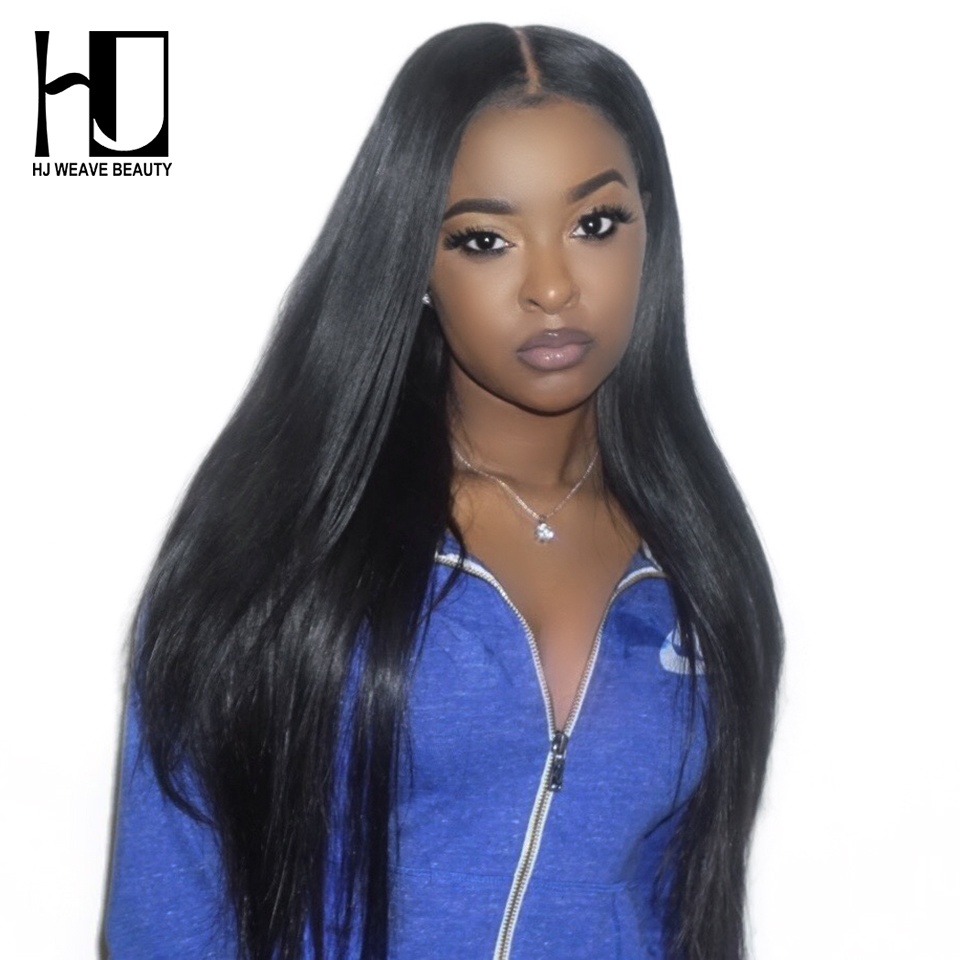 HJ Weave Beauty Brazilian Lace Front Human Hair Wigs Straight 4x4 Lace Closure Wig Pre Plucked