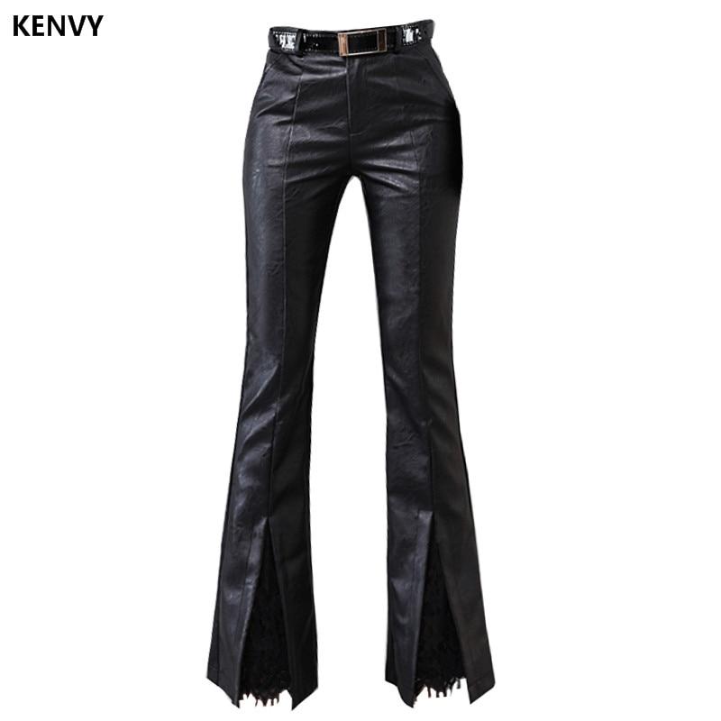 KENVY marque de mode haut de gamme luxe Slim cravate dentelle panneau PU cuir pantalon pantalon