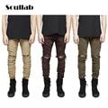 Nuevo calidad marrón de color caqui de oliva hombres inferior denim ripped destroyed jeans diseñador de moda Justin Bieber pantalones ropa hip hop botín
